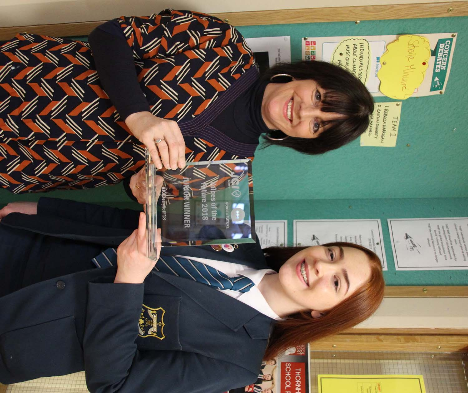 Molly celebrates her success with Ms Connelly, Co-ordinator of Public Speaking